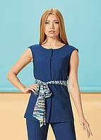 Оригинальный летний женский жилет-блуза льняной ЛЮКС-качество удлинненный синий офисный легкий