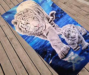 """Пляжний рушник """"Білі тигри"""""""