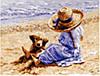 """Картина по номерам 3717 """"Девочка в шляпке и щенок"""" 40х50см, набор краски акрил, кисть -3шт"""