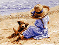 "Картина по номерам 3717 ""Девочка в шляпке и щенок"" 40х50см, набор краски акрил, кисть -3шт, фото 1"