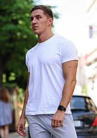 Белая мужская футболка / однотонные хлопковые футболки