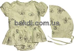 Дитяче літнє тонке плаття зростання 56 0-2 міс батистове салатова на дівчинку з косинкою коротким рукавом для