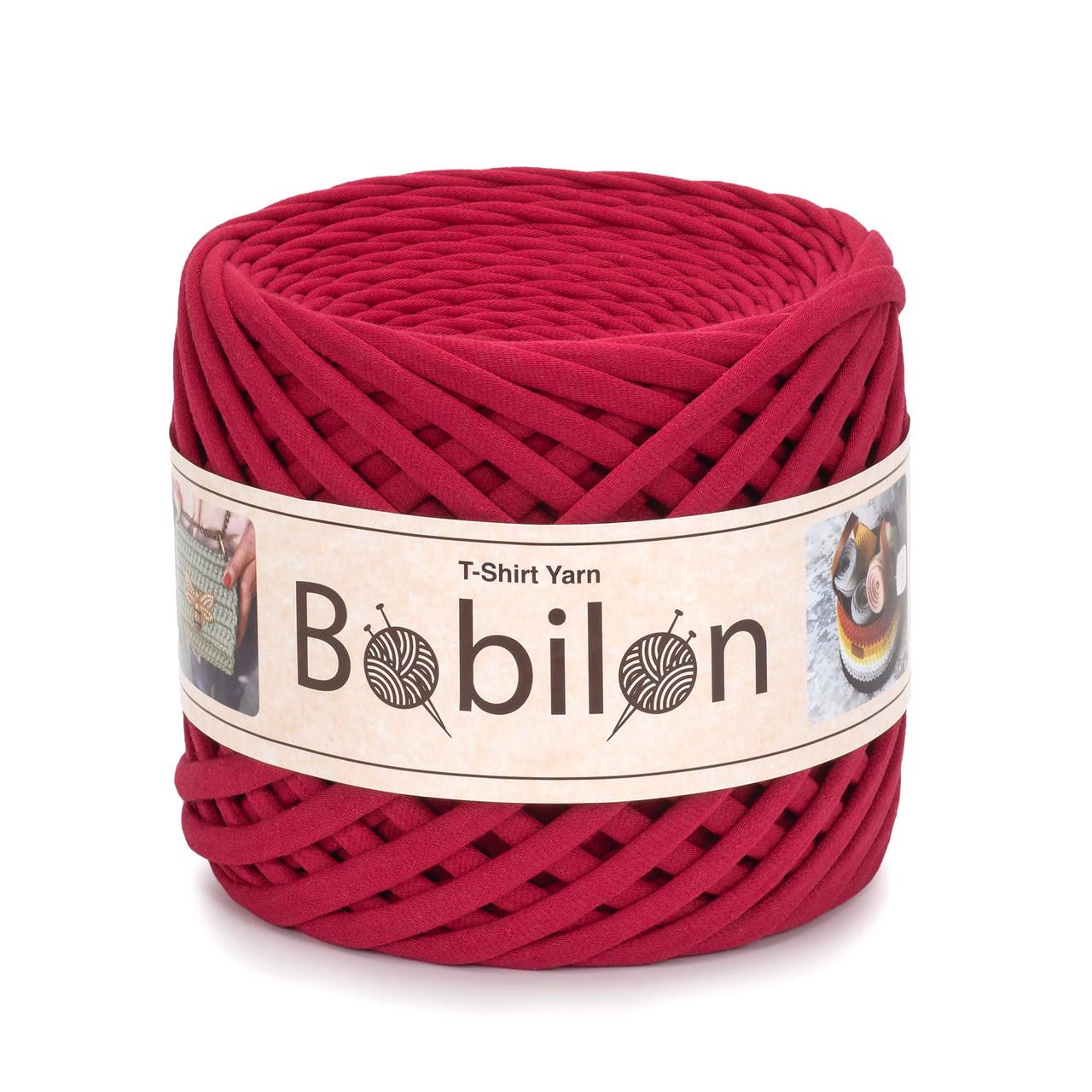 Пряжа трикотажна Bobilon Medium (7-9мм). Рубіновий