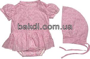 Дитяче літнє тонке плаття зростання 56 0-2 міс батистове рожеве на дівчинку з косинкою коротким рукавом для