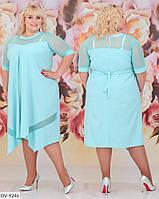 Свободное однотонное платье со вставками сетки Размер: 56-58, 60-62 Арт: 297