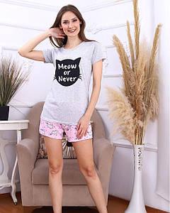 Домашний женский костюм-пижама с шортами (42-48)