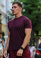 Бордовая мужская футболка / однотонные хлопковые футболки