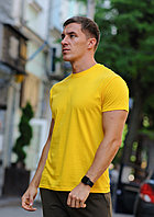Желтая мужская футболка / однотонные хлопковые футболки