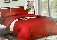 Комплект постельного белья СТРАЙП-САТИН красный на резинке и молнии