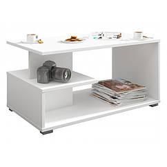 Стол журнальный кофейный столик столик в гостинную Akord ламинированная доска Белый