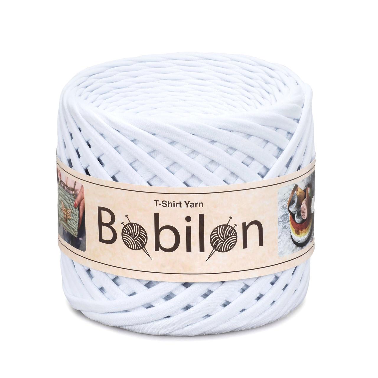 Трикотажная пряжа Бобилон Micro (3-5 мм) Snow White Белый