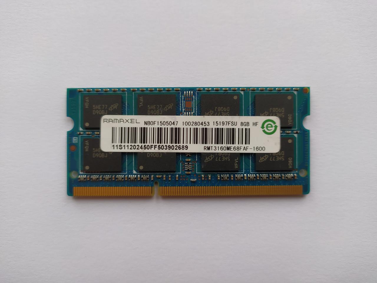 Оперативная память для ноутбука SODIMM Ramaxel DDR3 8Gb 1600MHz PC3-12800S (RMT3160ME68FAF-1600) Б/У