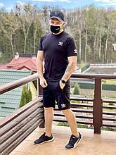 Летний мужской спортивный костюм Adidas (копия). Мужской комплект шорты футболка Адидас черный набор