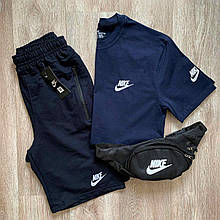 Синий мужской спортивный комплект шорты с футболкой. Летний спортивный костюм Nike реплика. Футболка + шорты