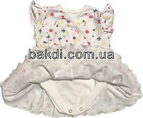 Дитяче літнє тонке боді плаття ріст 68 3-6 міс трикотаж білий на дівчинку бодік з спідницею коротким рукавом