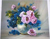 """Картина по номерам 5519 """"Розы и васильки"""" 40х50см, набор краски акрил, кисть -3шт, фото 1"""