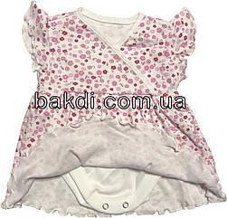 Дитяче літнє плаття ріст 68 3-6 міс трикотажне біле на дівчинку з коротким рукавом для новонароджених малюків