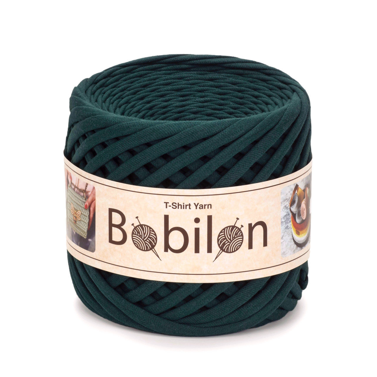 Трикотажная пряжа Bobilon Maxi (9-11 мм) Ultramarine Green Темно-зеленый
