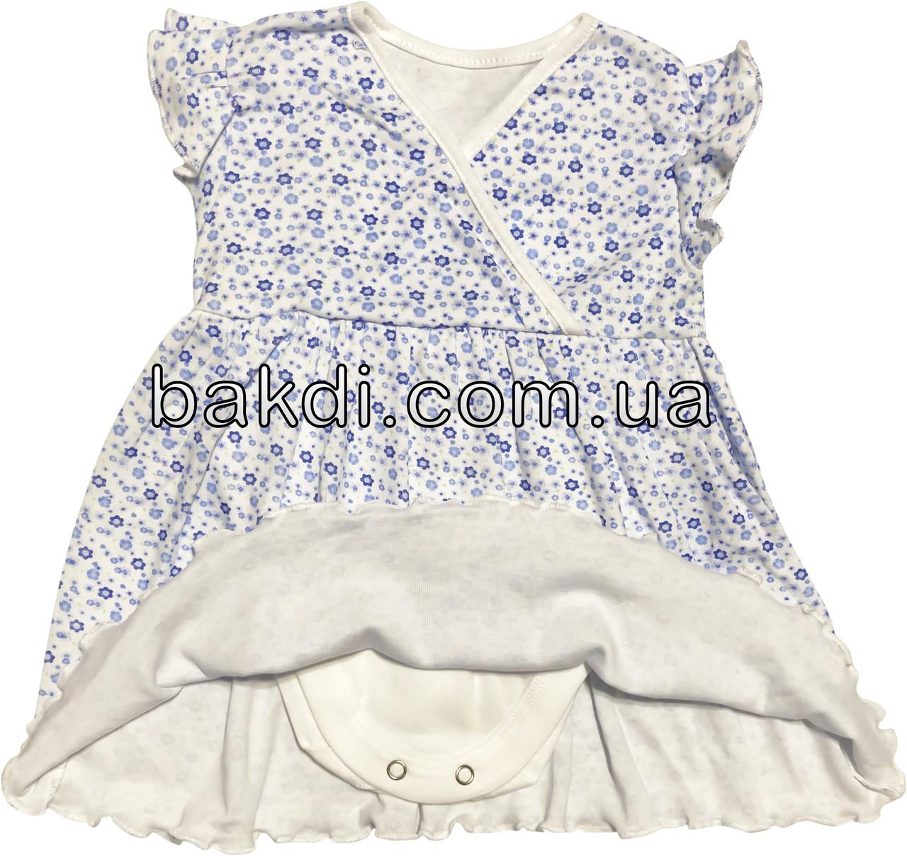 Детское летнее платье рост 68 3-6 мес трикотажное белое на девочку с коротким рукавом для новорожденных малышей Г314