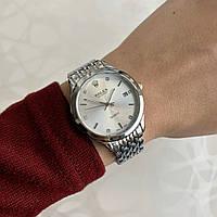 Женские наручные часы металлические в стиле ролекс с датой серебристые