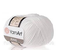 Пряжа Jeans 50гр - 160м (62 Белый) YarnArt 55 % хлопок, 45 % полиакрил, Турция