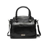 Женская кожаная сумка на плечо черная, фото 1