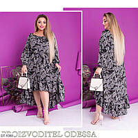 Принтованное свободное на резиночке платье   Размер: 50-52, 54-56, 58-60 Арт: 808