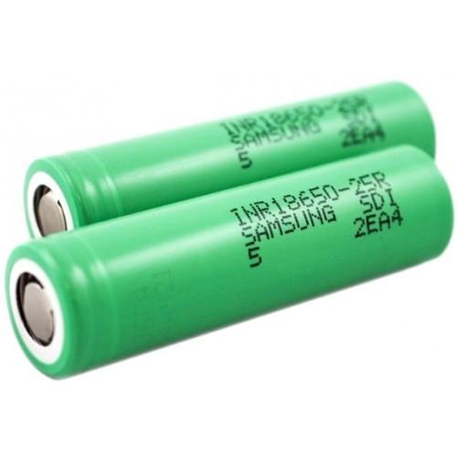 Аккумулятор 18650 Li-Ion Samsung INR18650-25R, 2500mAh, 20A, 4.2/3.6/2.5V, зеленые