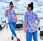 """Річна жіноча блуза-сорочка у великих розмірах 41486-3 """"Софт Смужка Написи Поло"""" в кольорах, фото 2"""