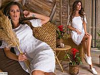 Нежное красивое короткое женское платье из прошвы с кружевом арт 6056