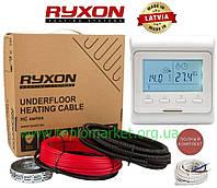 Теплый пол дома RYXON 12м²- 15м²/ 2400 Вт (120м) нагревательный кабель с программируемым терморегулятором E51