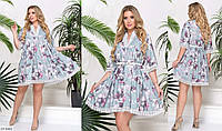 Принтованное свободное платье клеш с кружевом Размер: 50-52, 54-56, 58-60 Арт: 05235