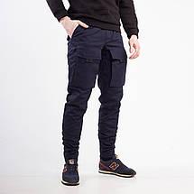 Теплые штаны карго на флисе мужские темно-синие бренд ТУР модель Один (Odin) размер S, M, L, XL, XXL, фото 3