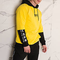 """Худи, кофта с капюшоном, толстовка мужская в стиле Япония """"Japan"""" желтый с иероглифами, фото 2"""