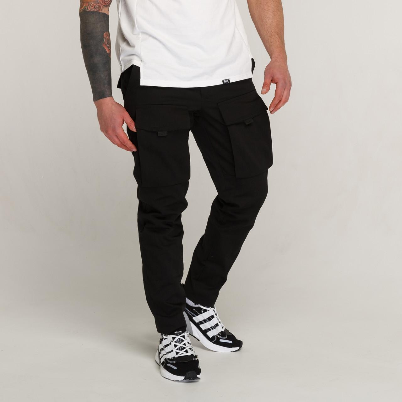 Зимние штаны карго на флисе мужские черные бренд ТУР модель Один (Odin)