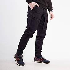 Зимние штаны карго на флисе мужские черные бренд ТУР модель Один (Odin), фото 3