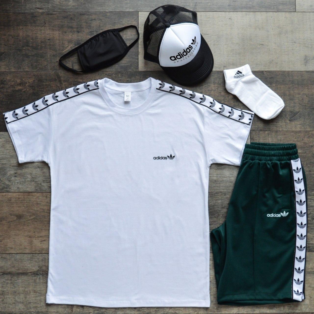 Летний комплект Адидас белая футболка мужская + зелёные шорты + носки + маска для лица + тракер  S, M, L, XL