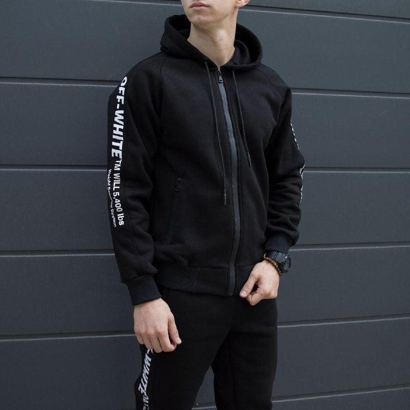 Спортивный мужской костюм черный Off White (Офф Вайт)