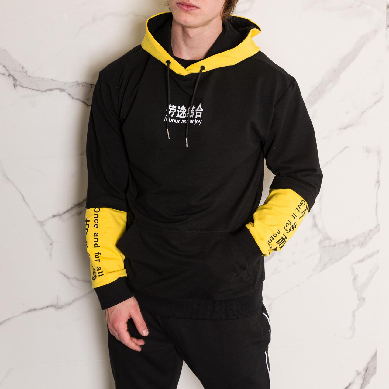 """Худи черно с желтым принотованое мужское в стиле Япония """"Japan""""  с иероглифами подростковые и взрослые размеры"""