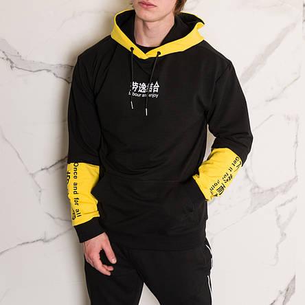"""Худи черно с желтым принотованое мужское в стиле Япония """"Japan""""  с иероглифами подростковые и взрослые размеры, фото 2"""