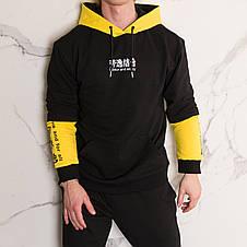 """Худи черно с желтым принотованое мужское в стиле Япония """"Japan""""  с иероглифами подростковые и взрослые размеры, фото 3"""