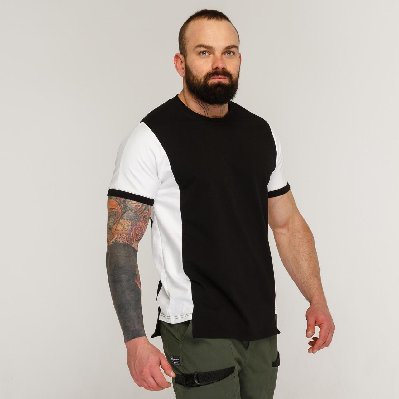 Футболка мужская черно-белая бренд ТУР модель Онага (Onaga)