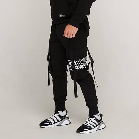 Карго штаны с лямками и принтом черные от бренда ТУР модель Ёсида (Yoshida) Подростковые Рост 140см - 188см., фото 2