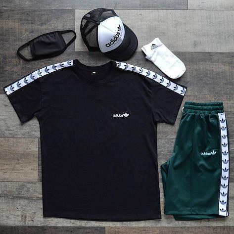 Летний комплект Адидас чёрная футболка мужская + зелёные шорты + носки + маска для лица + тракер  S, M, L, XL, фото 2