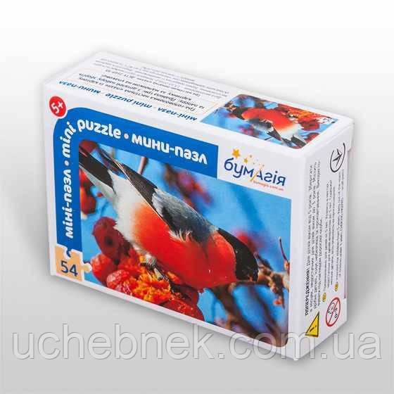 Мини-пазл 54 элемента Снегирь Птицы Бумагия