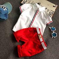 Детский Летний яркий костюм для мальчика, нарядный Шорты и футболка Размеры 90-130