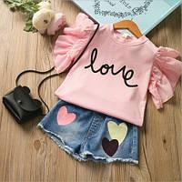 Детские костюмы для девочек летний Розовая футболка и джинсовые шорты. Размер 100-140
