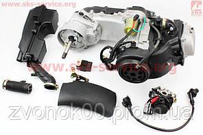 Двигатель скутерный в сборе 4Т-80куб (короткий вариатор, длинный вал) + карбюратор, коммутатор, катушка зажигания, фильтр воздушный