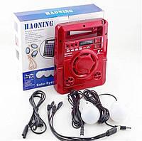 Солнечная панель с FM радио Haoning HN-1320ULS, TF/USB, динамик, светодиодный фонарик, power Bank, дисплей, красный цвет