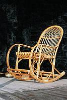 Кресло-качалка плетеное из лозы с подставкой для ног